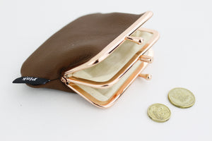 Brown Leather Coin Purse Handmade in Australia | PINKOASIS