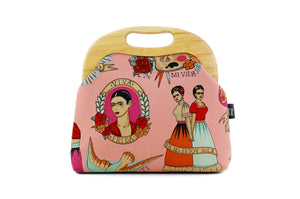 Boho Frida Kahlo Wood Frame Bag with Leather Strap | PINKOASIS