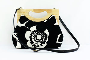 Black & White Hibiscus Medium Size Wood Frame Bag | PINKOASIS