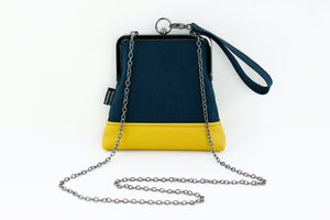Minimalist Navy and Mustard Wristlet with Chain Strap | PINKOASIS