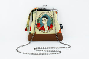 Frida Kahlo and Flower Wristlet Bag with Chain Strap | PINKOASIS