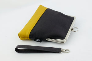 Minimalist Dark Grey and Mustard Wristlet Bag | PINKOASIS