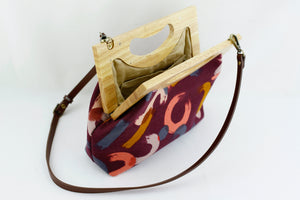 Freestyle Strokes Pattern Medium Size Wood Frame Bag | PINKOASIS