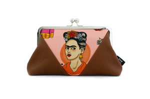 Pink Frida Kahlo Kisslock Clutch Bag with Chain Strap | PINKOASIS