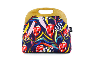 Abstract Protea Navy Large Wood Frame Bag