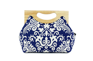 Navy Damask Floral Medium Women's Clutch Bag | PINKOASIS