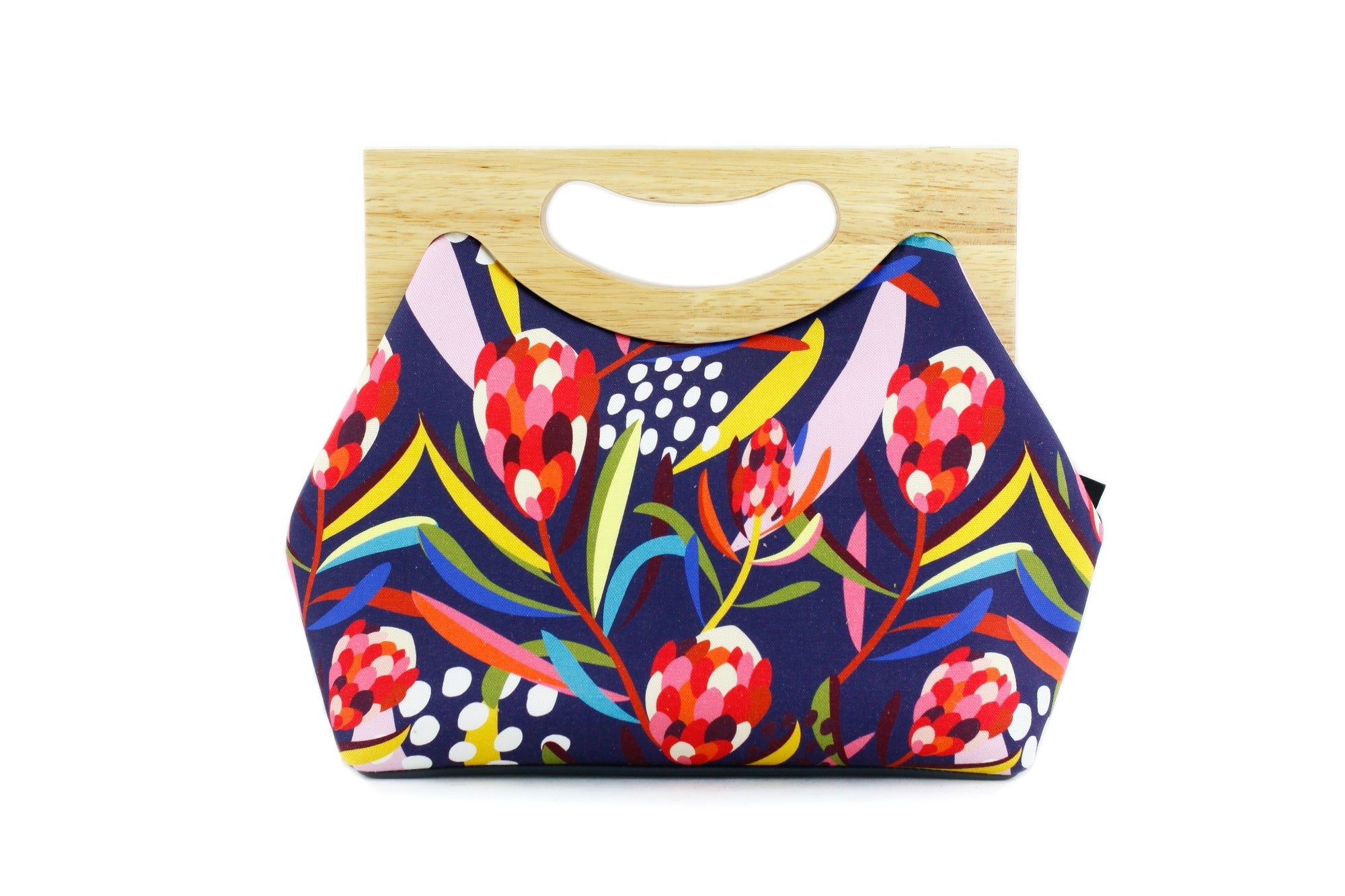 Abstract Protea Navy Flower Medium Women's Clutch Bag | PINKOASIS