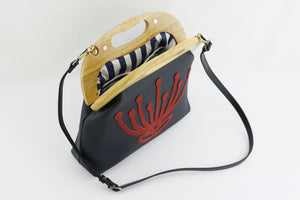 Handmade Waratah Navy Leather Handbag for Women | PINKOASIS