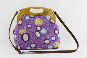 Purple Peacock and Flower Large Wood Frame Bag | PINKOASIS