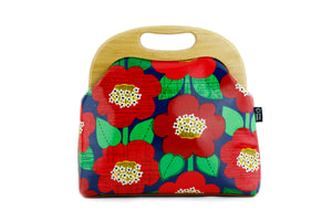 Red Camellia Flower Large Wood Frame Bag | PINKOASIS