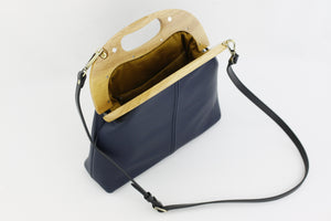 Women's Luxury Navy Leather Bag Handmade in Australia | PINKOASIS