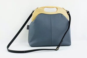 Women's Luxury Ash Grey Leather Bag | PINKOASIS