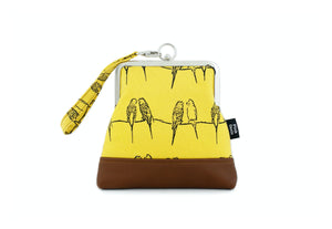 Happy Budgies Wristlet Handbag with Chain Strap | PINKOASIS