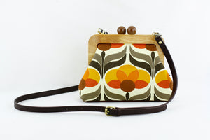 Marigold Orange Flora Clutch Bag with Leather Strap | PINKOASIS