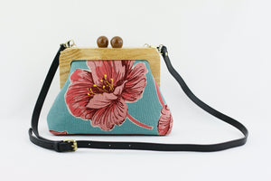 Coral Flower Clutch Bag with Leather Strap | PINKOASIS