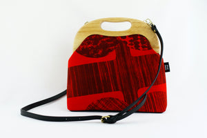 Abstract Red Pattern Large Wood Frame Bag | PINKOASIS