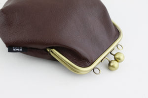 Burgundy Violet Genuine Leather Clutch Bag with Strap | PINKOASIS