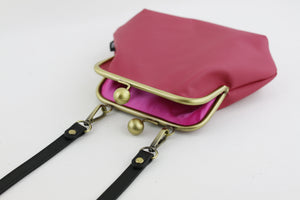 Women's Fuchsia Genuine Leather Clutch Bag with Strap | PINKOASIS