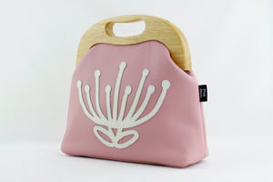 Abstract Pink & White Waratah Leather Bag Handmade in Australia | PINKOASIS