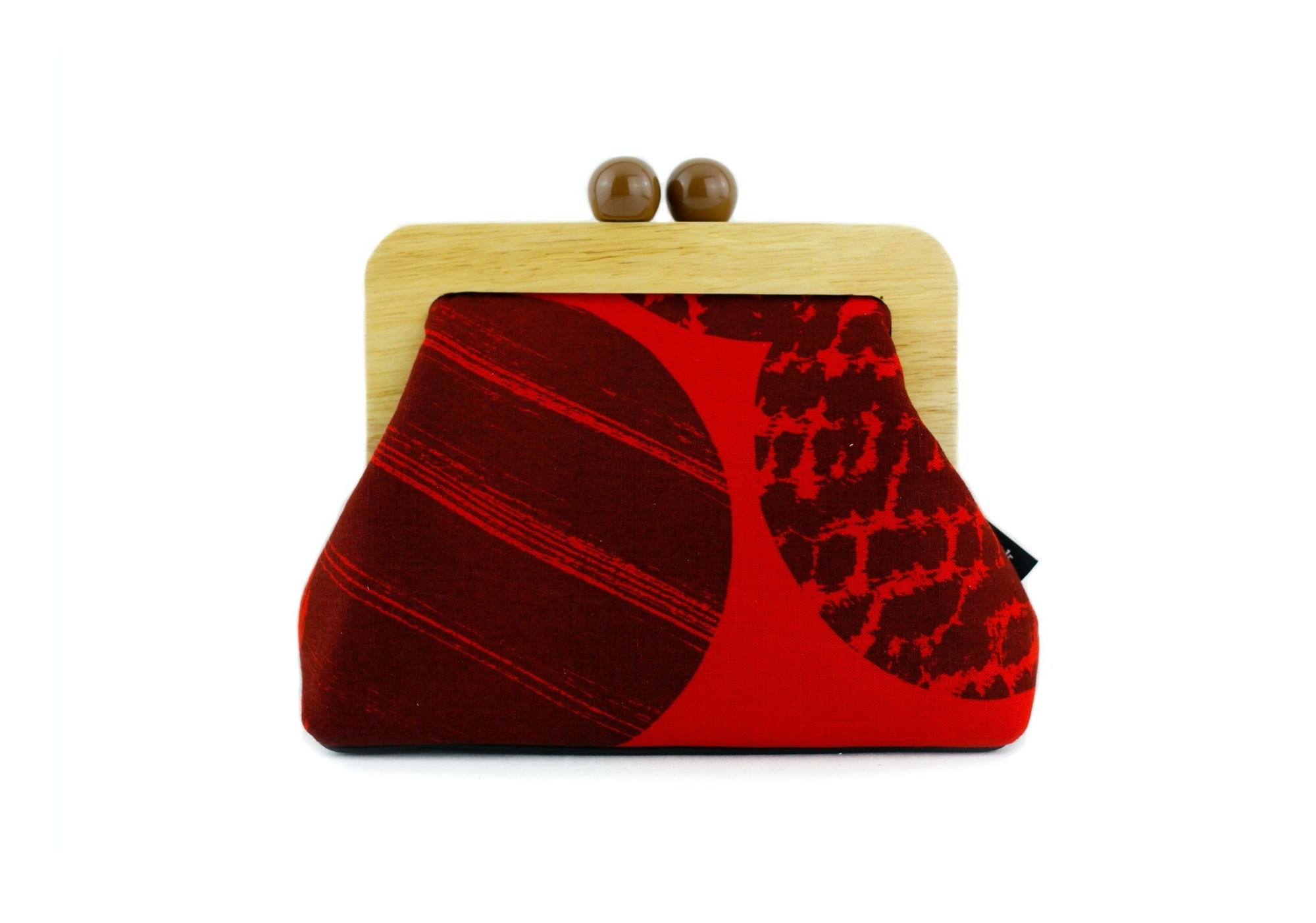 Red Abstract Pattern Wooden Frame Bag with Leather Strap | PINKOASIS