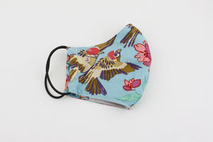 Reusable Face Mask (Regular Size) - Birds and Red Flowers