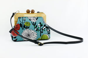 Teal Flowers Wooden Frame Bag with Leather Strap | PINKOASIS