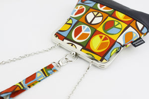 Colorful Peace Sign Wristlet with Chain Strap | PINKOASIS
