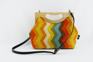 Retro Rainbow Chevron Medium Size Wood Frame Bag | PINKOASIS