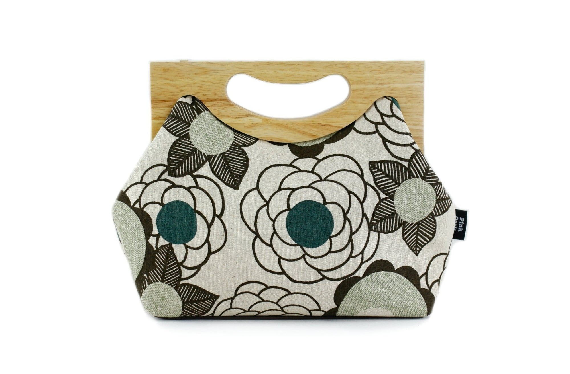 Rustic Linen Floral Medium Size Wood Frame Bag | PINKOASIS