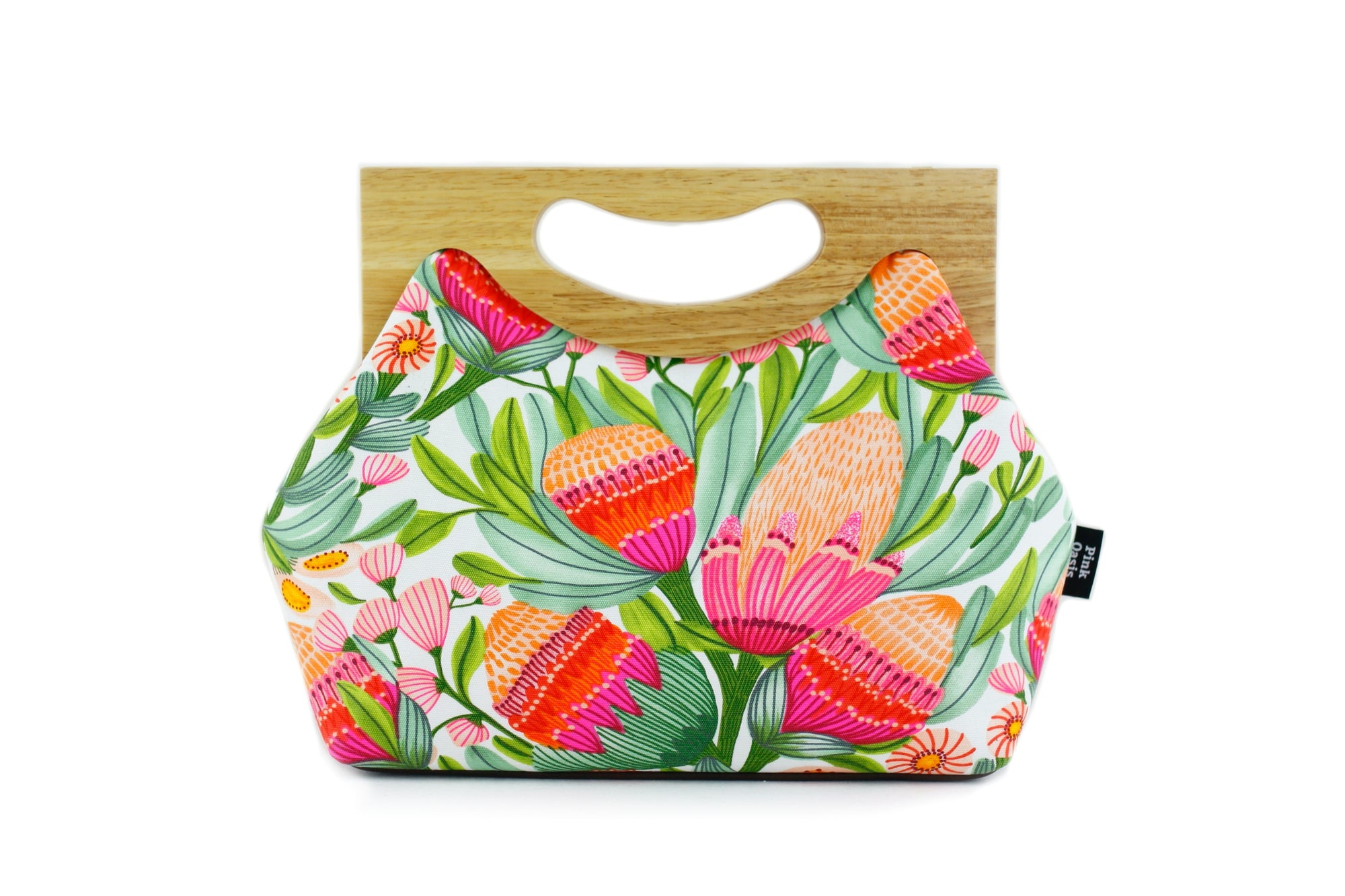 Gum Blossoms Medium Size Wood Frame Bag | PINKOASIS