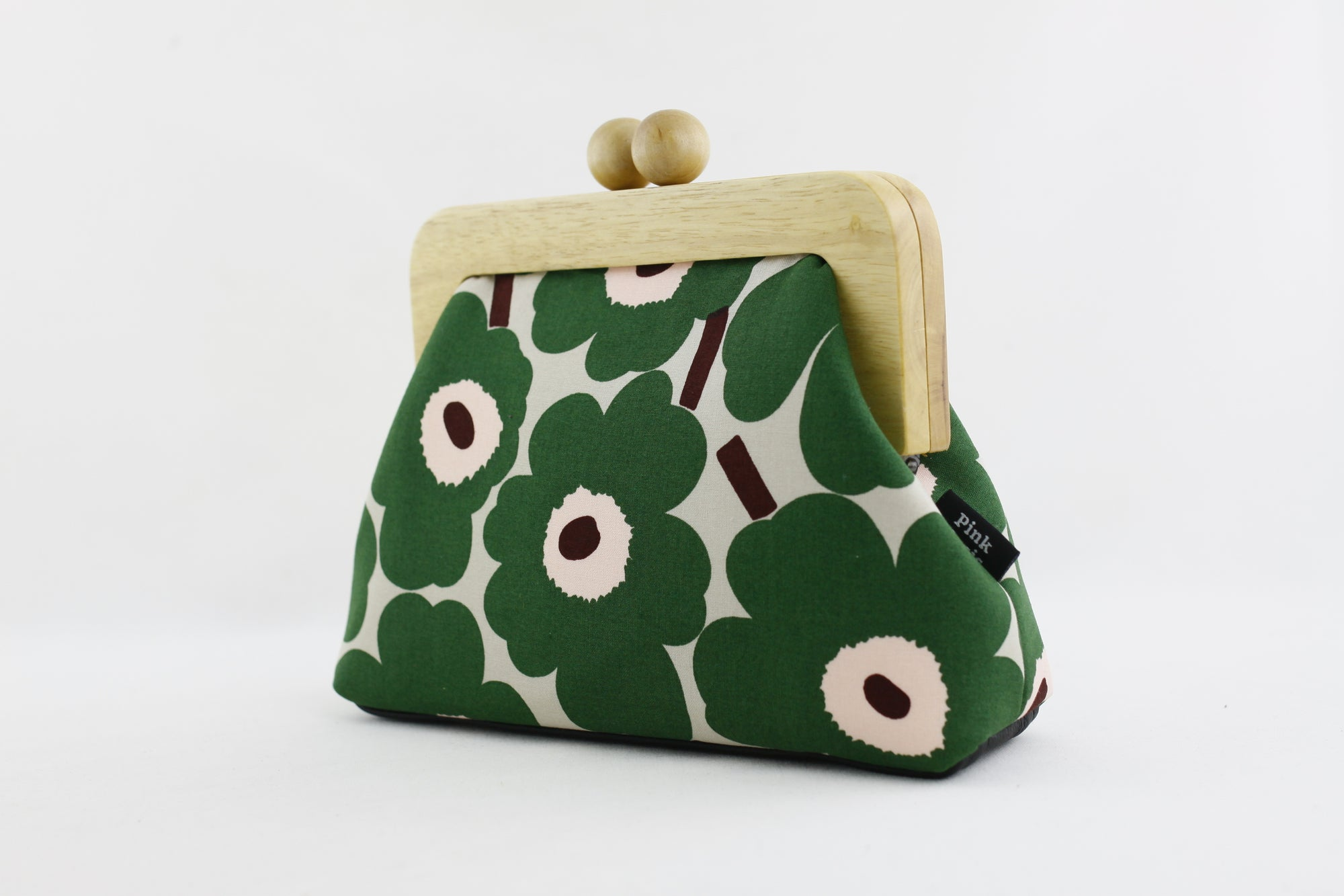Marimekko Unikko Poppy Green Clutch Bag with Leather Strap | PINKOASIS