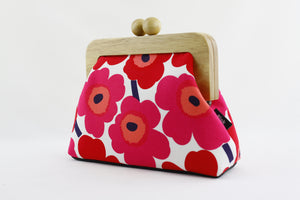 Marimekko Unikko Poppy Red Clutch Bag with Leather Strap | PINKOASIS