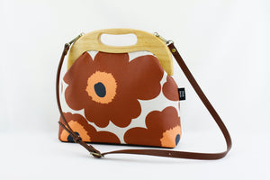 Marimekko Unikko Chestnut Clutch Bag with Leather Strap | PINKOASIS