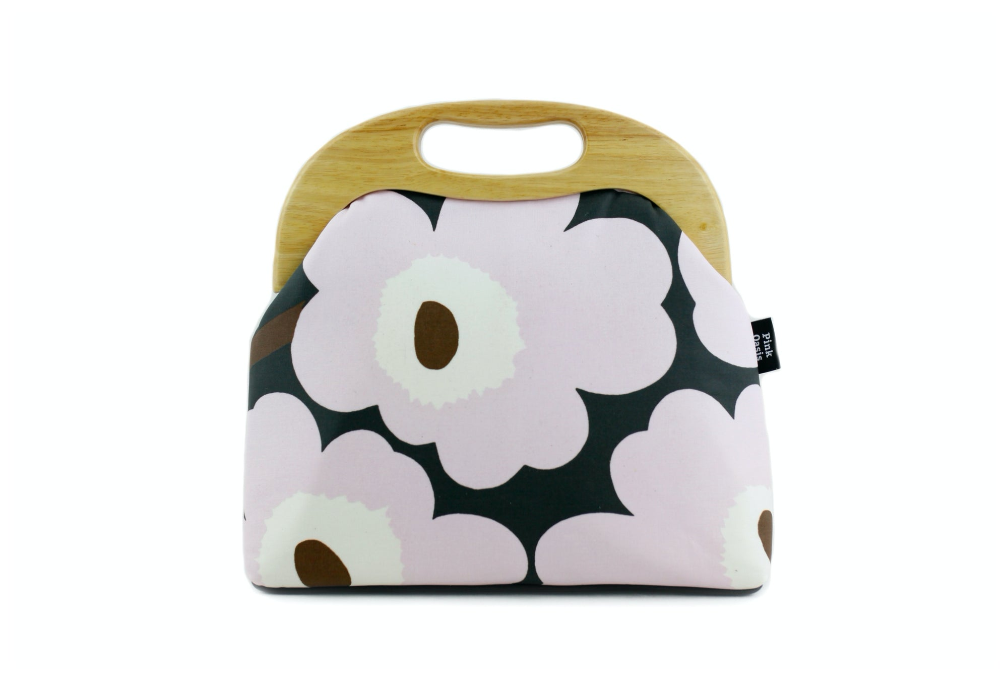 Marimekko Unikko Light Pink Clutch Bag with Leather Strap | PINKOASIS