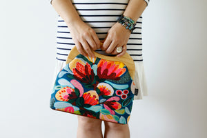 Protea & Bush Flowers Large Wood Frame Bag | PINKOASIS