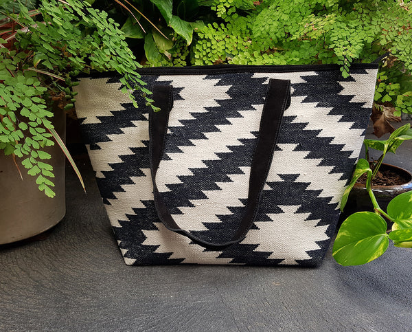 Black White Boho Dhurry Tote Bag