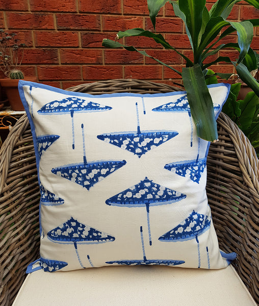 Blue White Parasols Cushion