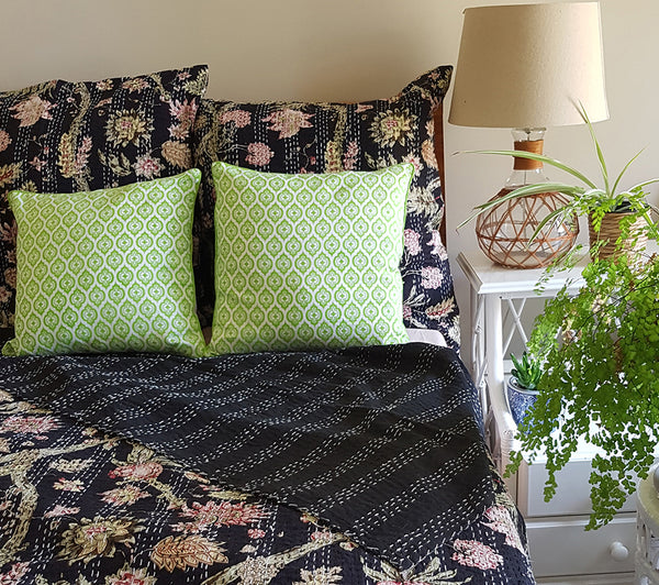 Black Tropical Garden Kantha Sham