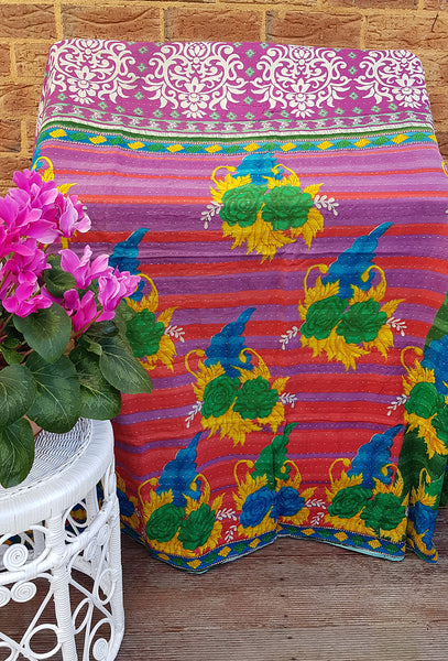 Red Purple Stripe Multicolour Floral Vintage Kantha Throw