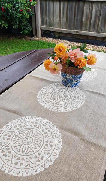 Mandala Linen Table Runner