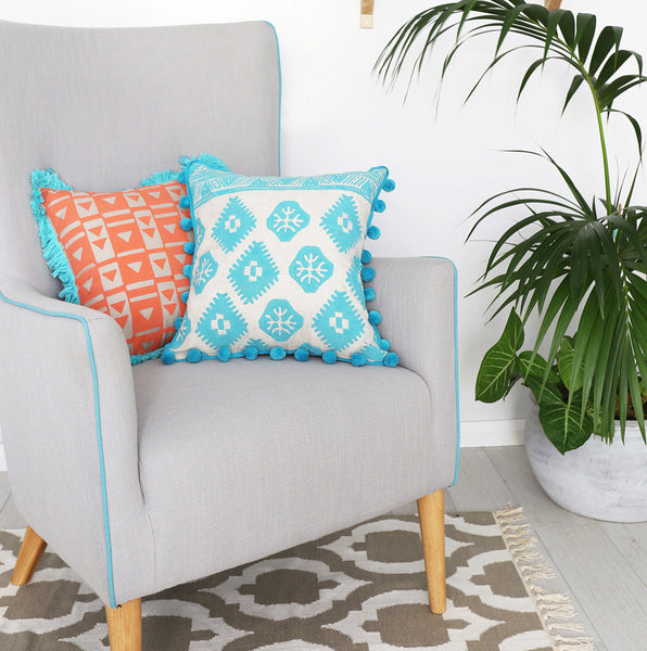 Aqua Aztec Tribal Block Print Cushion
