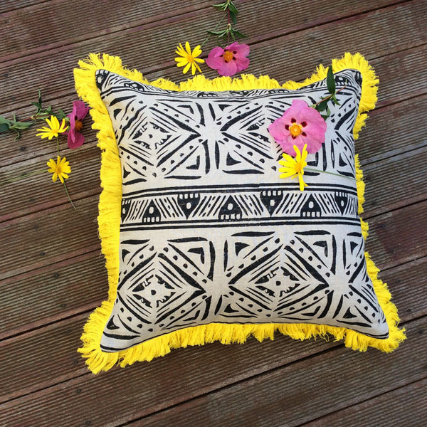 Black Oatmeal Tribal Block Print Cushion