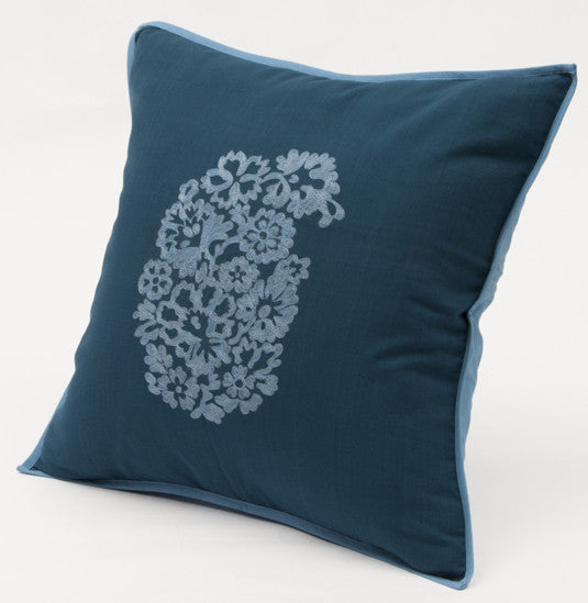 Cobalt Handembroidered Paisley Cushion