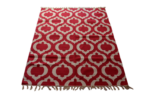 JAIPURI GEOMETRIC CHILLI RED RUG / DHURRIE