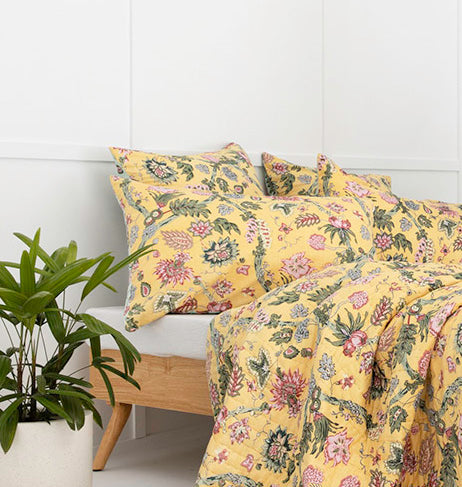 Mint / Yellow Floral Vine Cotton Pillowcase / Euro