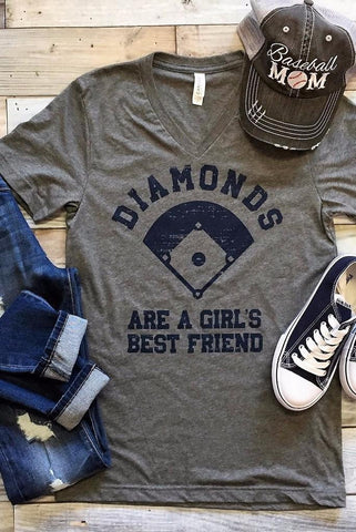 Diamond's Are A Girl's Best Friend Tee - Charcoal