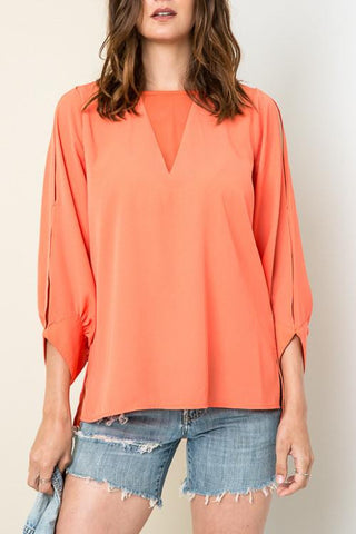 Living For Today Blouse - Papaya