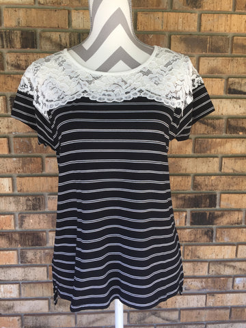 Stripes and Lace  Blouse - Black