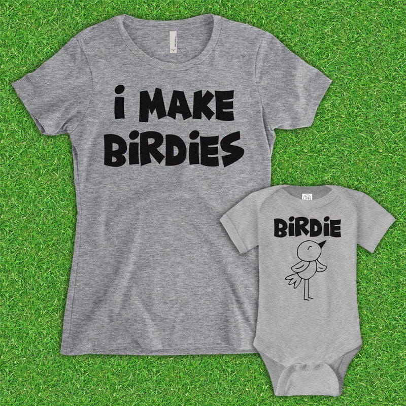 Mom I Make Birdies/Birdie (Matching Set) - Gray