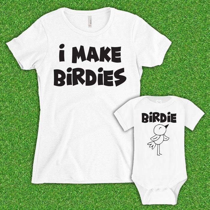 Mom I Make Birdies/Birdie (Matching Set) - White